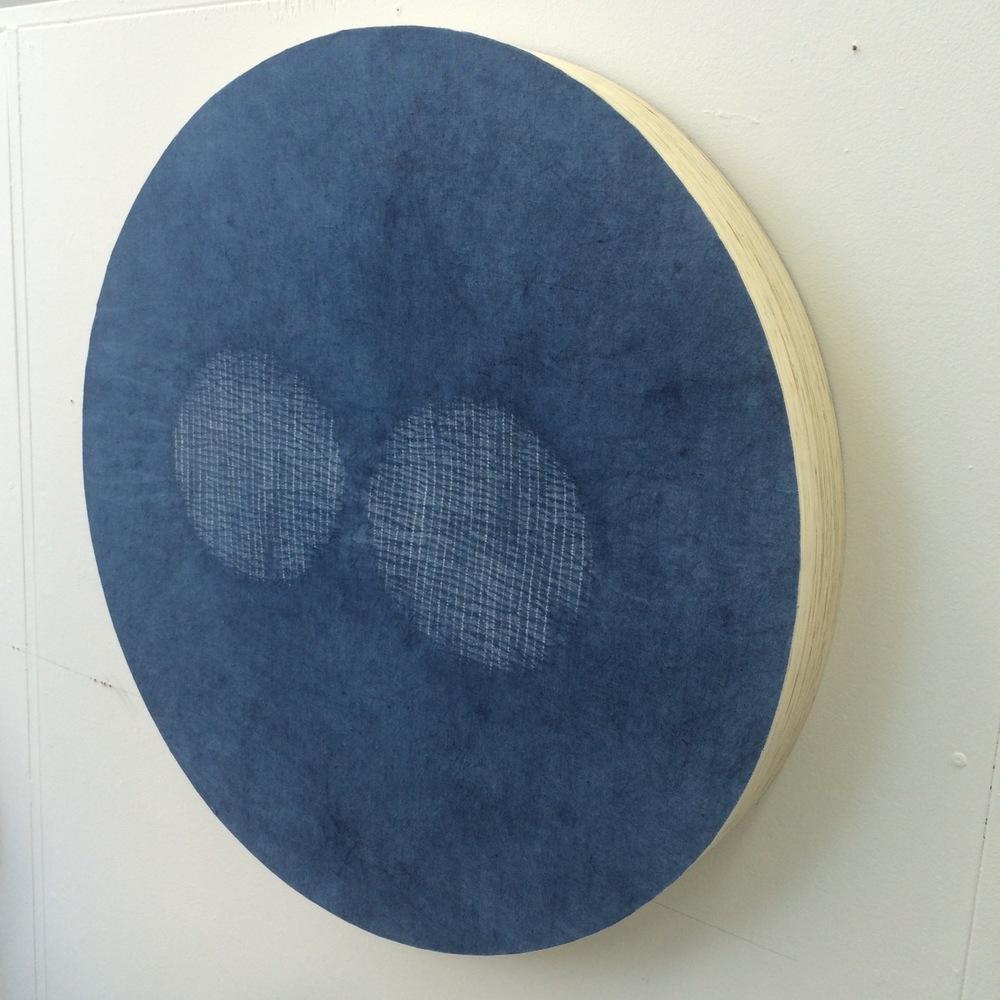 SOLD   Indigo unstitched #2 2015,  indigo dyed linen on ply, 840mm x 840mm