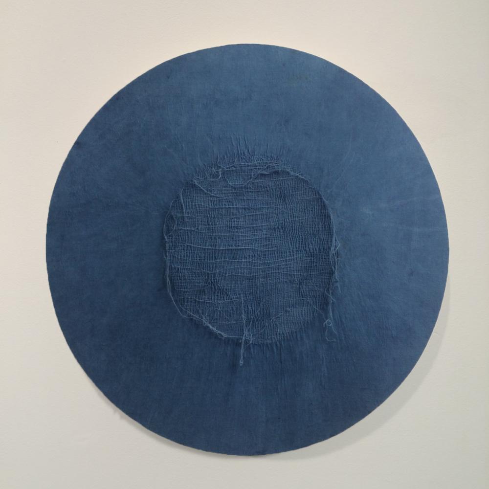 SOLD   Indigo unstitched #1 2015, Indigo dyed linen on ply, 1070mm x 1070mm