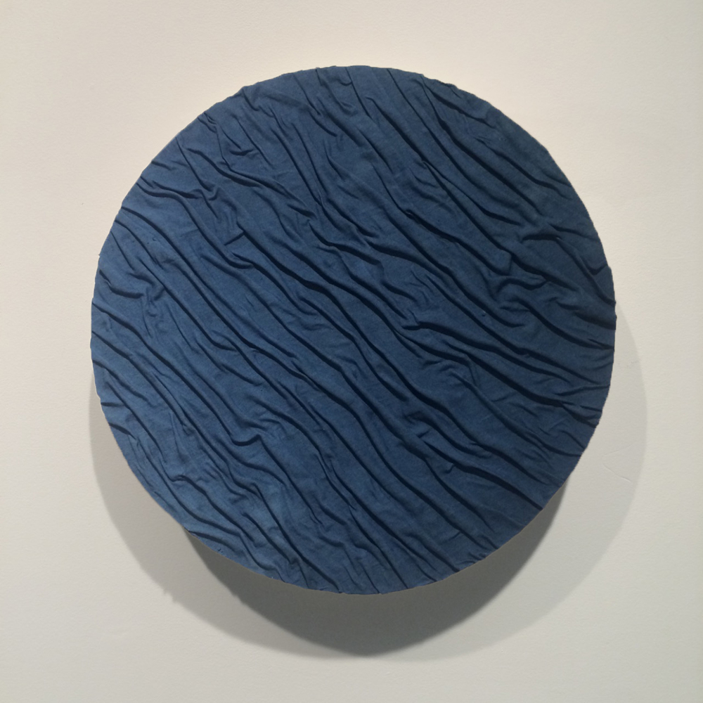 SOLD   Indigo wrinkle 2015,  Indigo dyed linen on ply, 450mm x 450mm