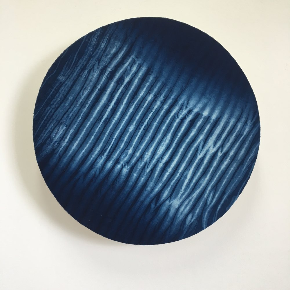 Indigo bound and dipped #2    Indigo dyed linen mounted onto layered plywood 550 x 550 x 70