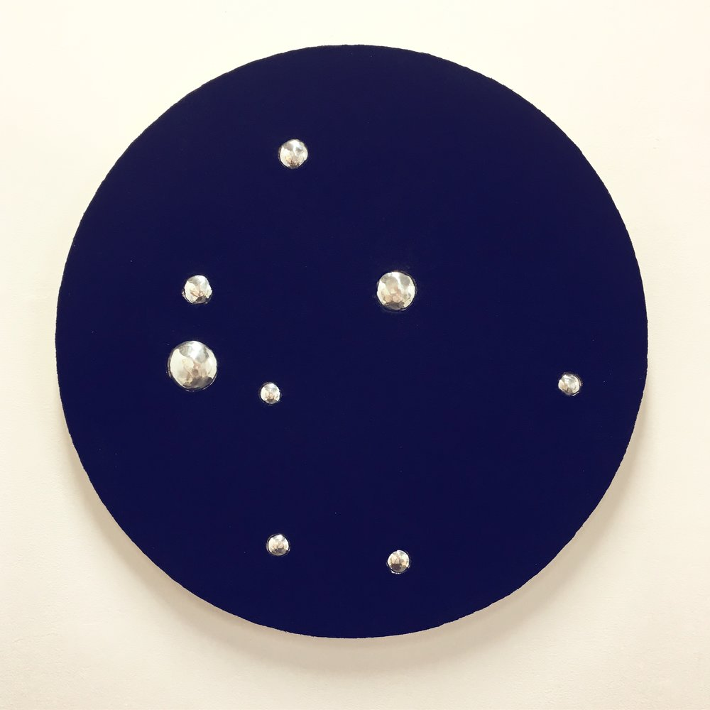 Indigo spaces reflecting    Indigo dyed cotton mounted onto layered plywood with aluminium 74 x 74 x 3.5cm