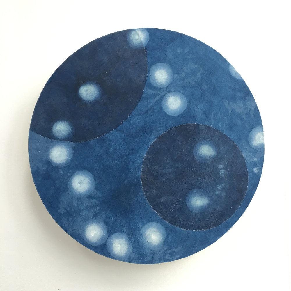Indigo spaces between and over #1    Indigo dyed cotton/linen and soy wax, mounted on layered plywood, 890 x 890 x 95