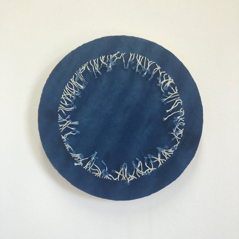 Indigo by a thread #1    Indigo dyed cotton, mounted onto layered plywood, 340 x 340 x 30