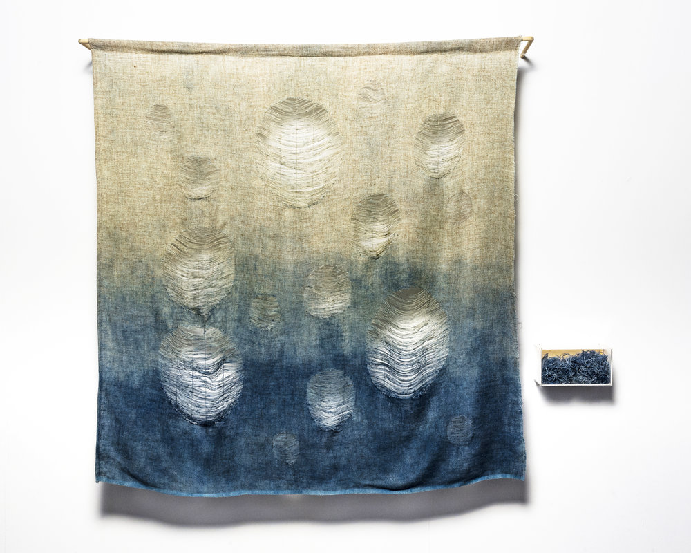 Undoing what was done 3 , 2017   150cm x 120 cm. Time, indigo and recycled materials: textiles, perspex, plywood, timber. Image: Andrew Willis