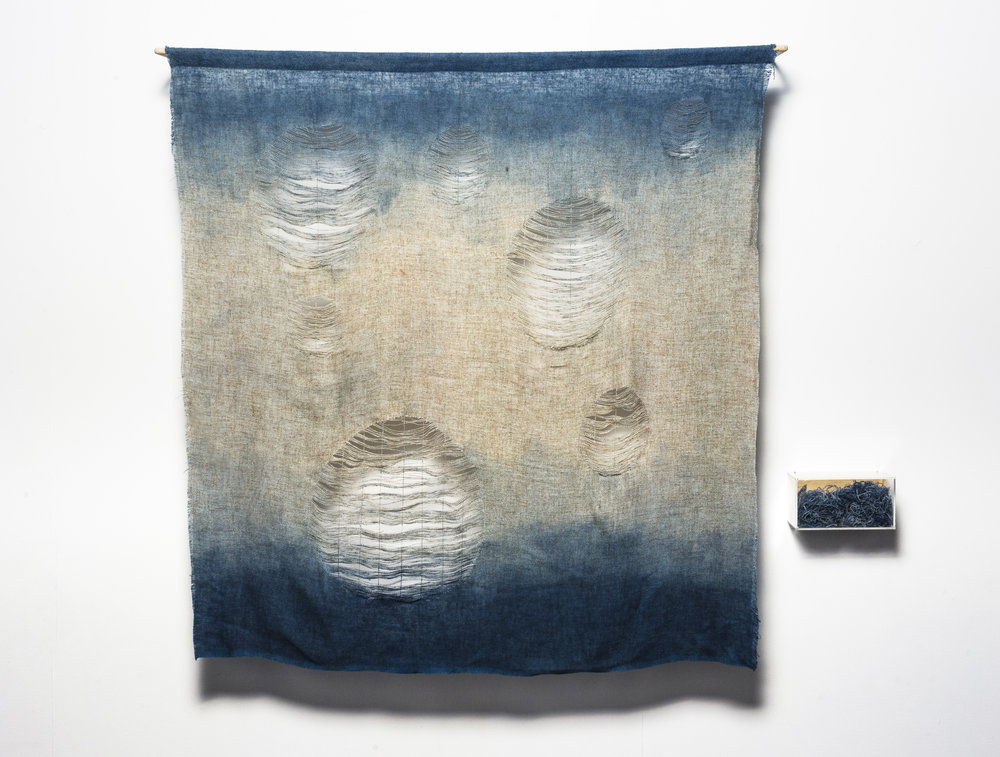 Undoing what was done 1 , 2017   150cm x 120 cm. Time, indigo and recycled materials: textiles, perspex, plywood, timber. Image: Andrew Willis