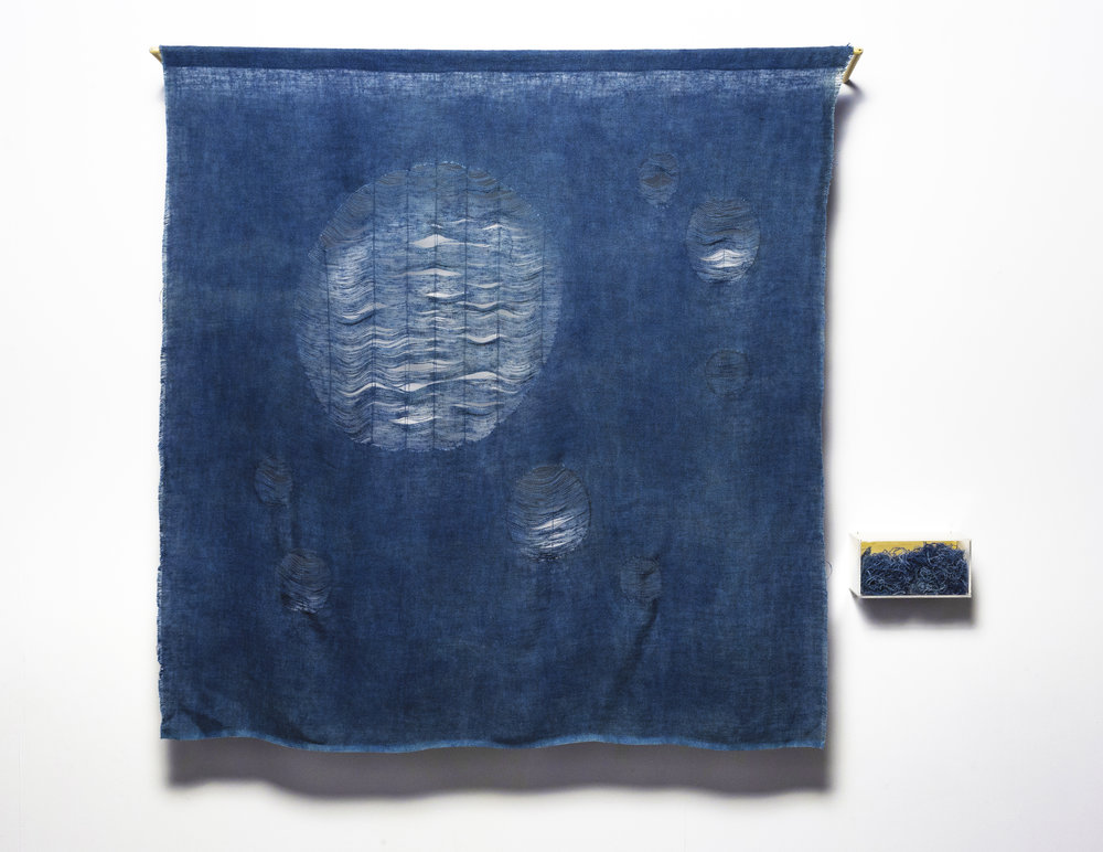 Undoing what was done 2 , 2017   150cm x 120 cm. Time, indigo and recycled materials: textiles, perspex, plywood, timber. Image: Andrew Willis
