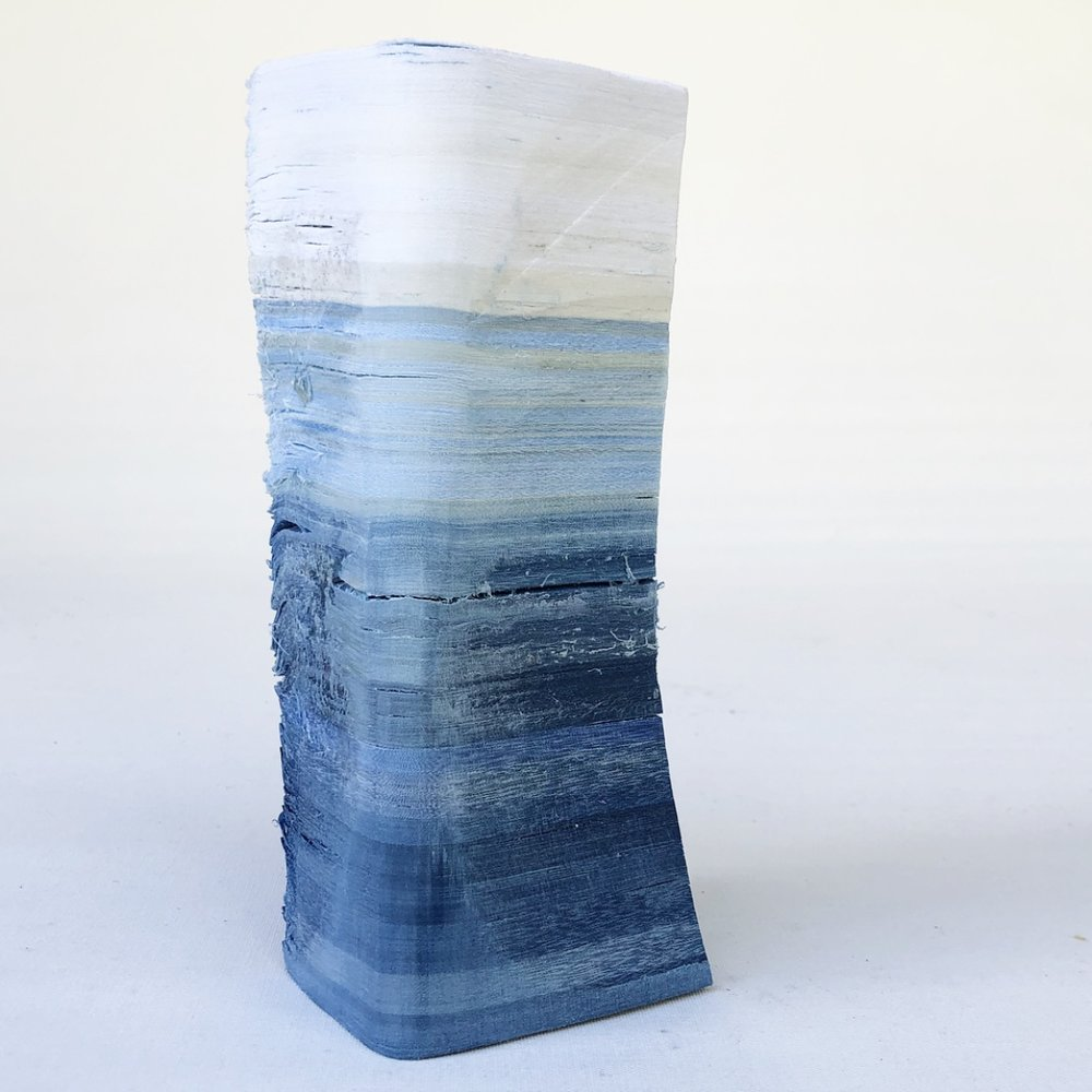 Recuperated Material Monuments, 2018.   Indigo dyed, layered, salvaged textiles (bedsheets). Image: Rachael Wellisch.
