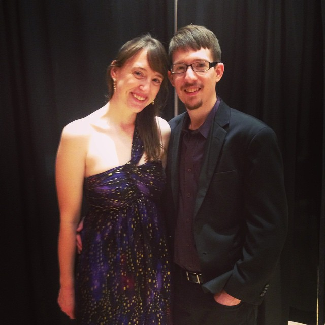 With percussionist Nicholas Huneycutt following a performance of David Burge's Sources III . Photo credit Abby Langhorst.