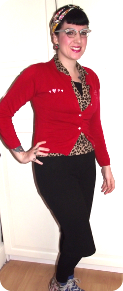 red rockabilly cardigan rockalily style.png