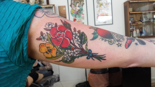 My New Tattoo A Bunch Of Flowers Rockalily Cuts