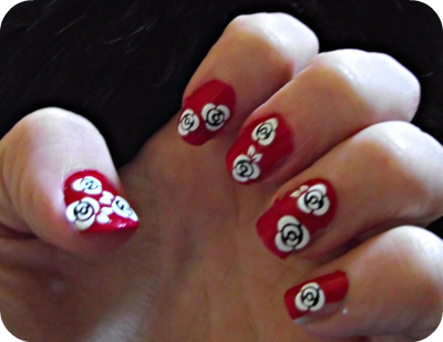My First Attempt At Nail Art Red And White Roses Rockalily Cuts
