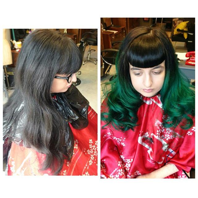 dark green dip dye