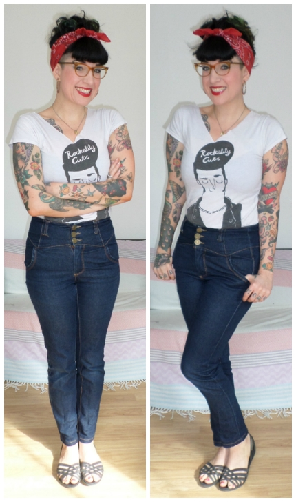 7201636951ecb1 I m wearing Collectif Jeans (use REE10 for a discount) with a Rockalily  tshirt