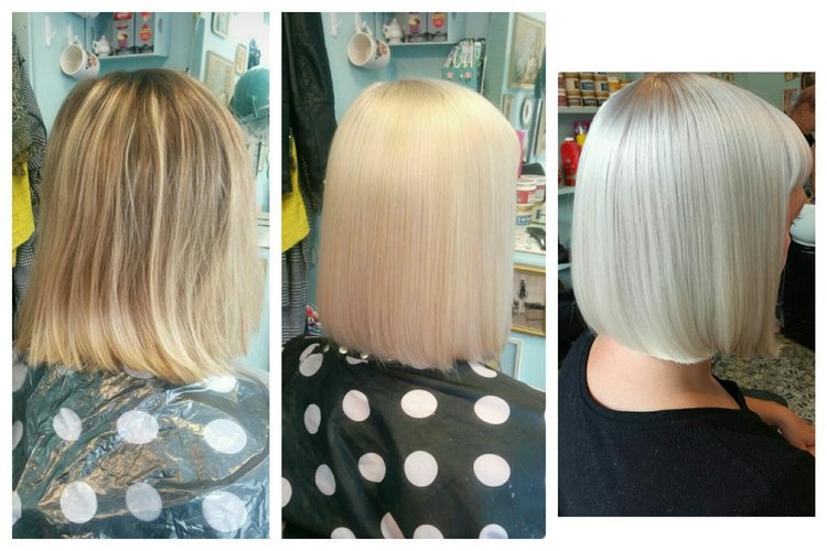 Highlighted Blonde To White Blonde Bombshell With Olaplex