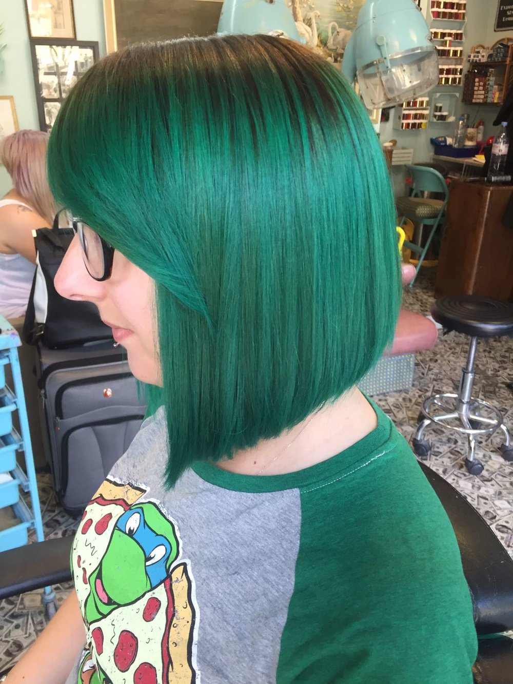 green hair extended root