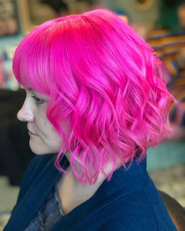 Neon dreams from @charley_todd_hair #rockalilycuts #incolourfulcompany #hoxton #pinkhair