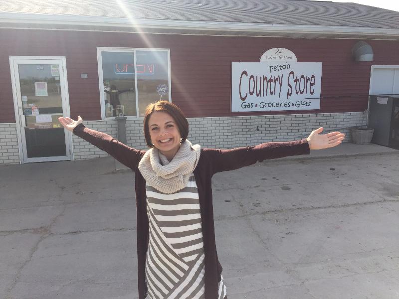 """Host Jennifer Mergen outside the """"Country Store"""" in Felton, MN"""