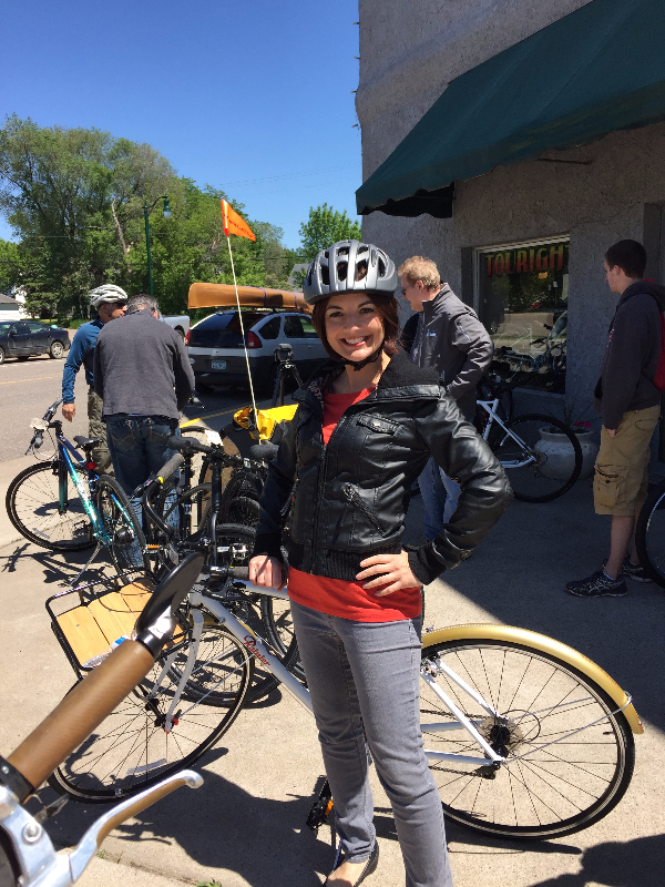 Jennifer at Touright Bicycle Shop during our stop in Little Falls.