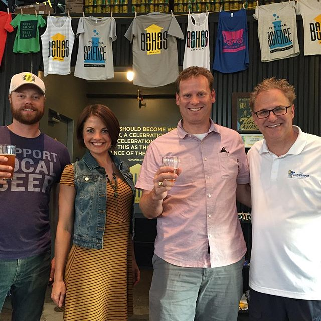 Your host @jennifermergen and co-executive producer of The Minnesota Traveler, John McCally hanging out with the @bauhausbrewlabs guys while filming for our Minneapolis - Saint Paul Area episode. Watch Sunday, August 16th at 8:30 AM on @fsnorth and Fox Sports Wisconsin. @exploreminnesota #beer #theminnesotatraveler