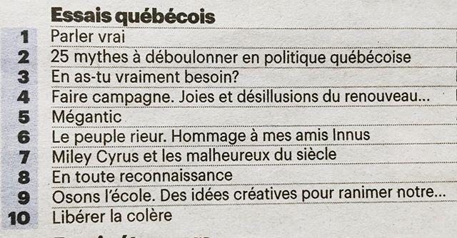 Deux de nos livres dans le top 10 des essais québécois les plus vendus, cette semaine: «Faire campagne» en 4e position, et «Miley Cyrus et les malheureux du siècle» en 7e. Merci, lecteurs et libraires!