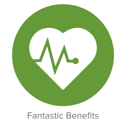 Fantastic Benefits   Our amazing benefits package includes medical, dental, FSA (dependent and medical), life insurance, short-term disability, 401(k) matching and generous paid time off.