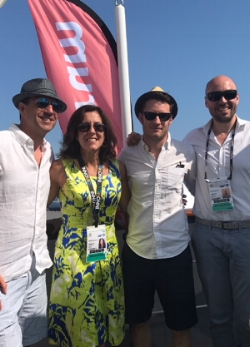 The Innovid team in Cannes Lions. (Left to right) Tim Braz, SVP, Sales; Beth-Ann Eason, President; Tal Chalozin, CTO & Co-Founder; Ben Samuel, Commercial Director of EMEA.