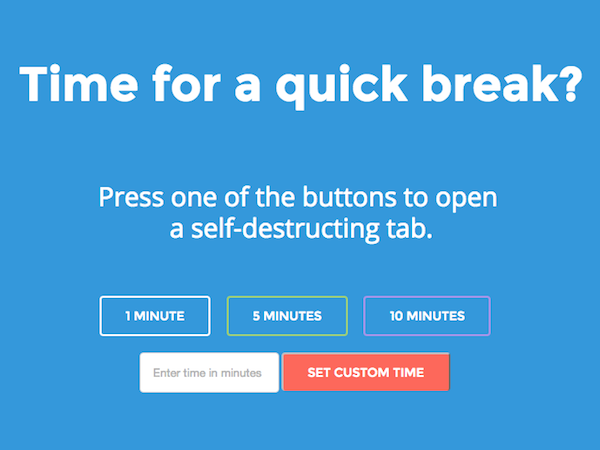 Everyone has a site they go to. You go for a quick fix and the next thing you know two hours have passed. Well you might like this site. It's a self destruct feature on to the page with a time limit. No more internet black holes!Handy.