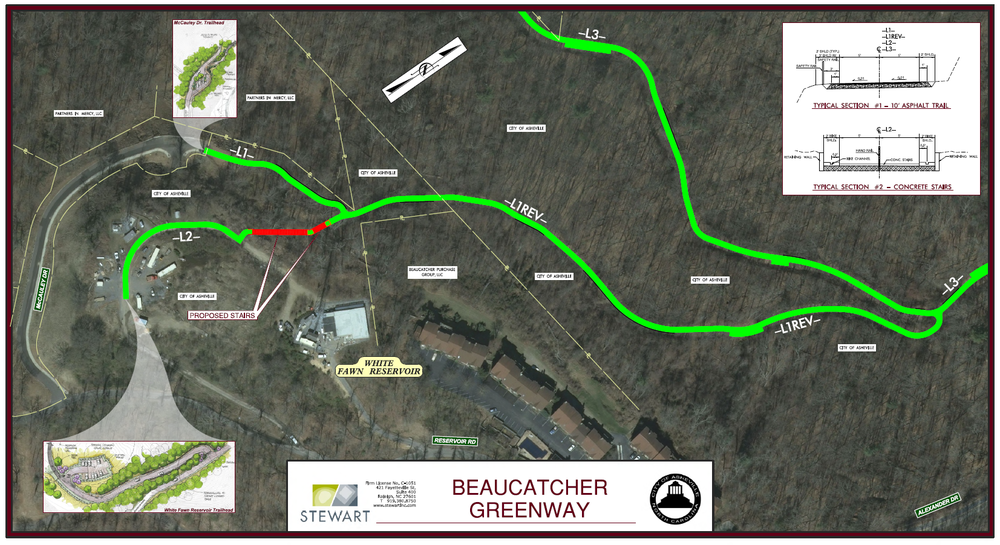 This first section focuses on the White Fawn Reservoir access and off-road asphalt sections of greenway from the White Fawn Reservoir connections, continuing northward toward   Ardmion   Park.  This graphic also includes part of the connection coming from White Fawn Drive (labeled as –L3- and is continued from Detail Board 02).