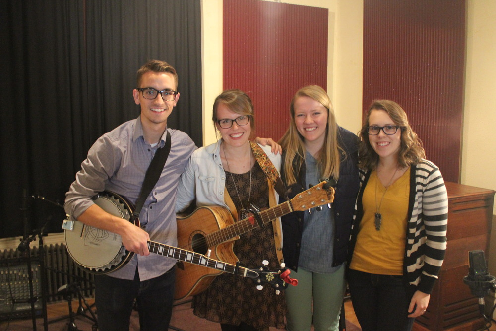(Left to right) Peter Norton, Aly Aleigha, Kirsten Grandon, and Stephanie Schissel at Innovation Studios recording Jealous Love.  Missing: Jack Nash (drummer).