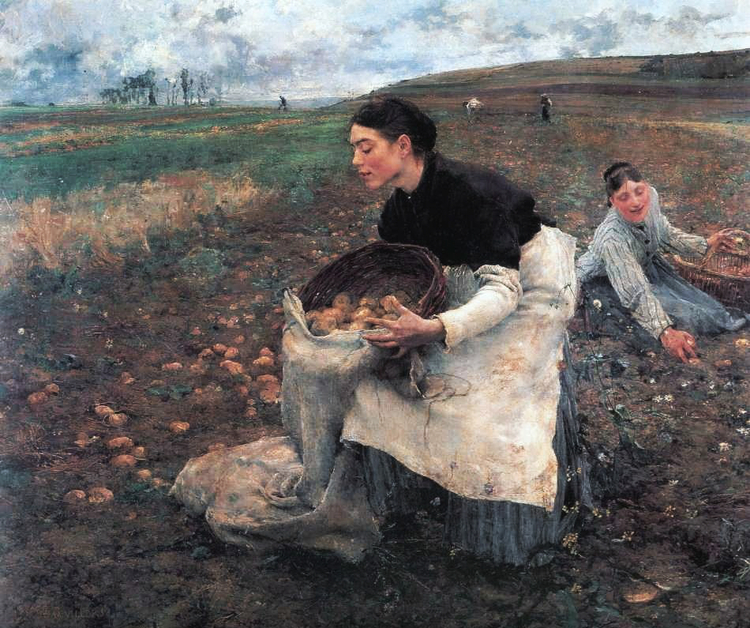 JULES BASTIEN-LEPAGE. These French ladies can't wait to turn these hard-earned earth apples into nutritionally worthless chips to devour in front of Netflix.