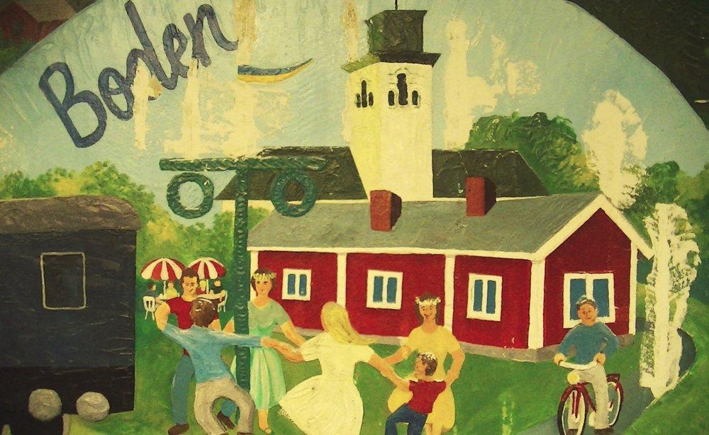 o17  Boden tågstations berättande konsttunnlar är målade av Anders Hjortenklev.