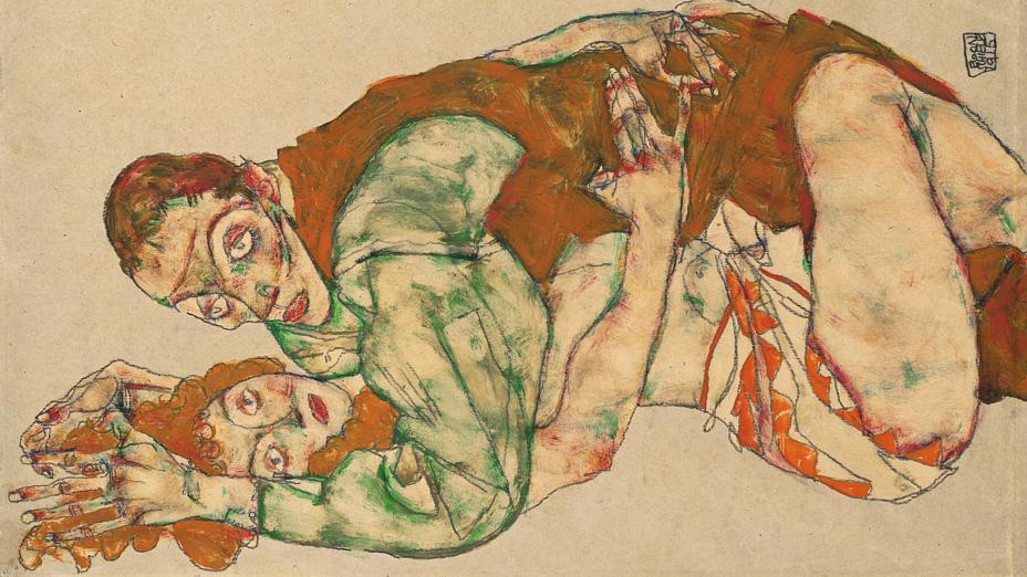 Egon Schiele  /   Liebesakt .