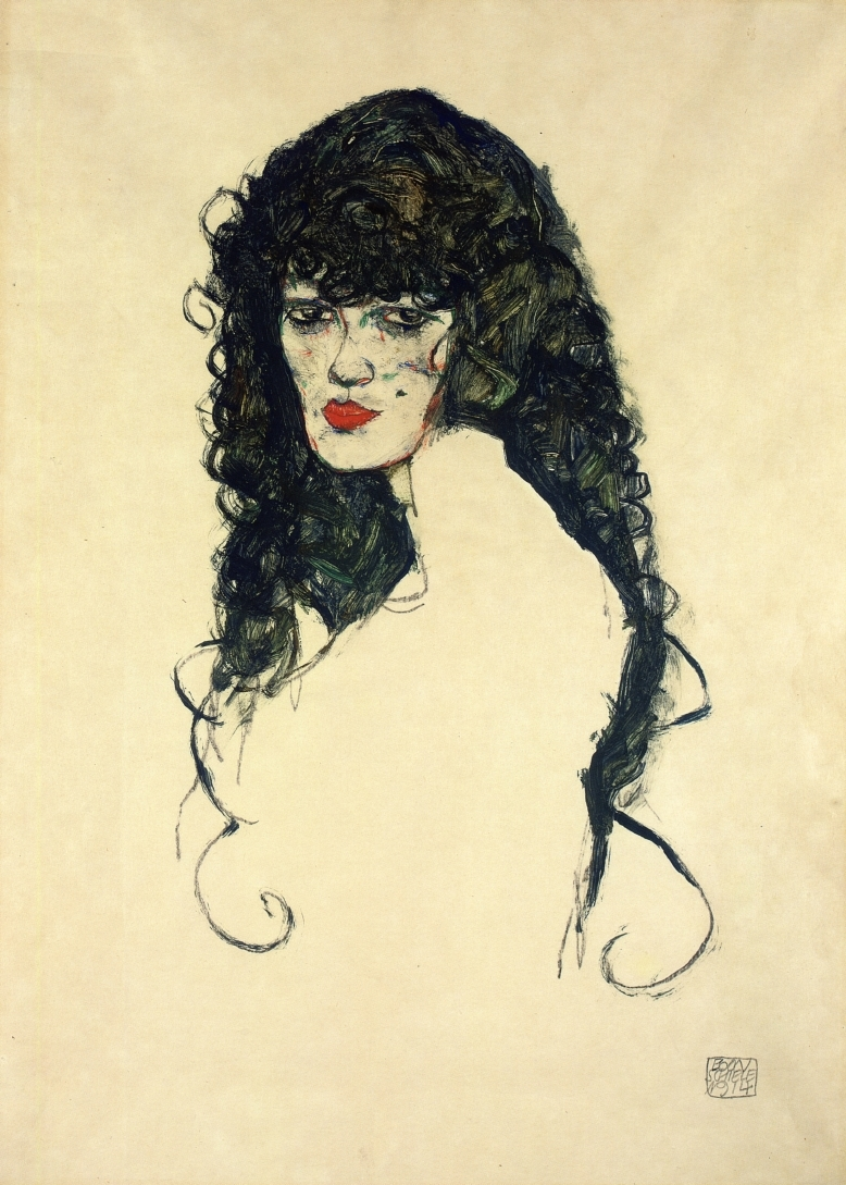1914  Egon Schiele  /   Porträt einer Frau mit schwarzen Haaren .