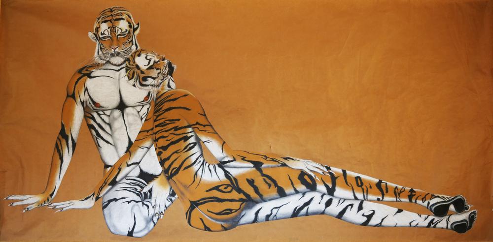 """Tiger People, Color pencil, 72""""x36"""""""