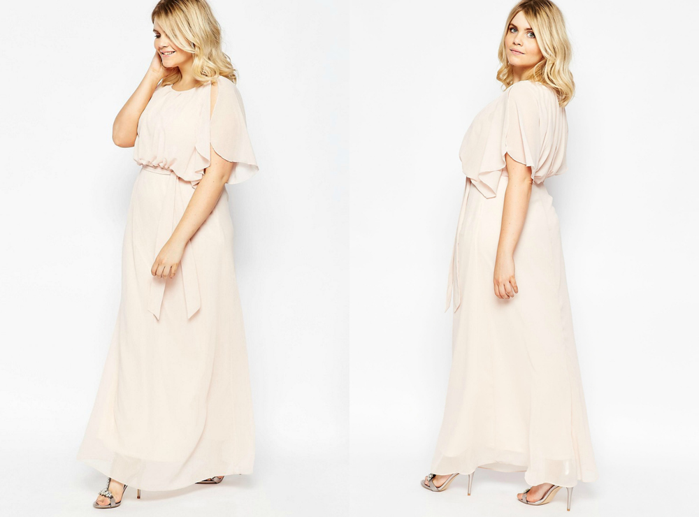 Maxi Dress with Fluted Sleeves - Nude | US 14