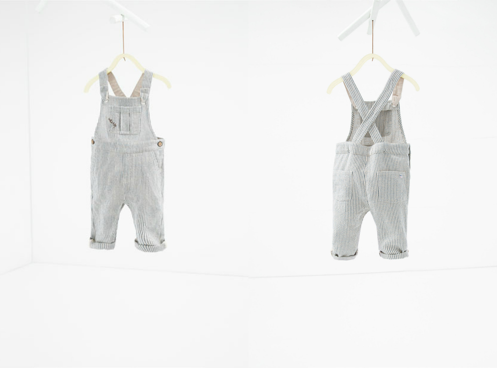 Striped Linen Dungarees - 2-3 years (boys)