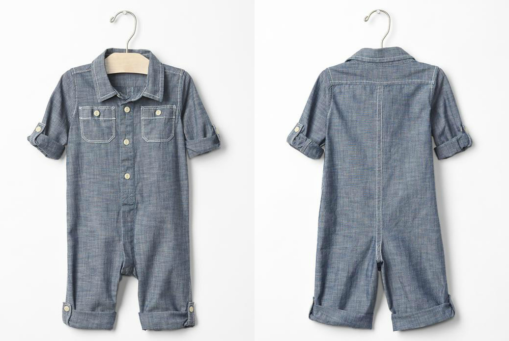 chambray roll-up one-piece | size 6-12m