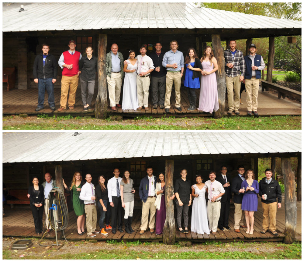 Current (top) and former (bottom) Wilderness Adventure staff at the wedding