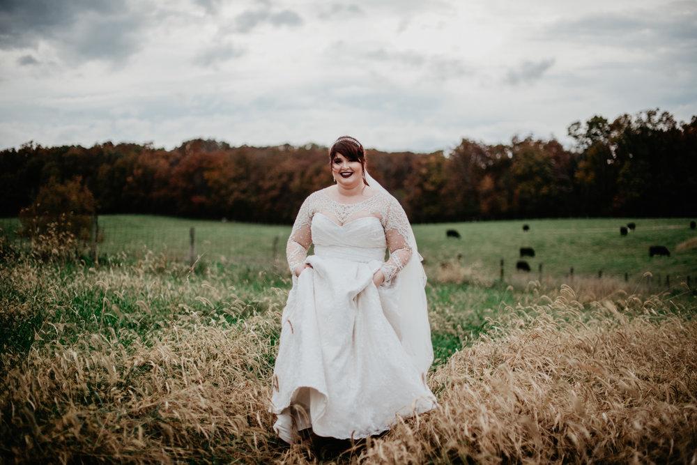 dramatic fall bridal portraits
