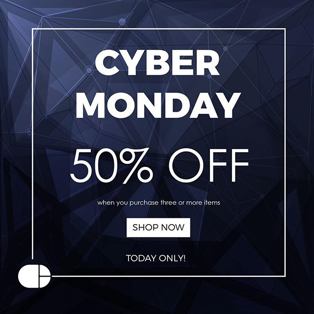 Receive 50% off when you order three or more items. Offer is good Cyber Monday only! See store link in profile. #cybermonday