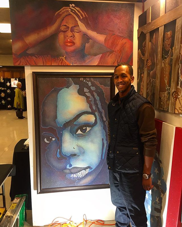 "Artist Derrick Carter with his work ""Bluetiful"" from opening night yesterday!  Everyone should check out his beautiful images crafted out of glimmering sand!  #aboutlastnight #HFASNYC2017 #HFAS #HFASNYC #HarlemFineArtsShow #sandart #openingnight"