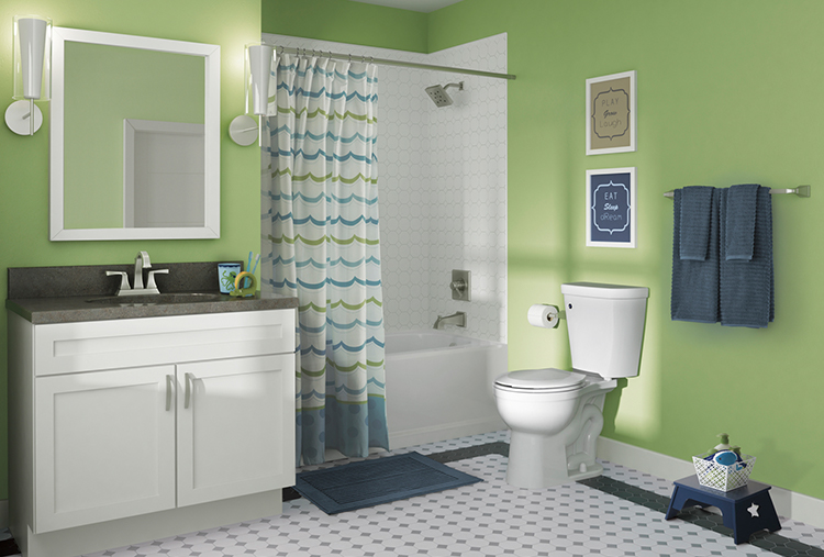 """Dryden Two-Handle Centerset Bathroom Faucet  ,  24"""" Towel Bar  ,  Monitor 17 Series H    2  Okinetic Tub & Shower  and   Classic 400 60"""" x 32"""" Bathtub"""