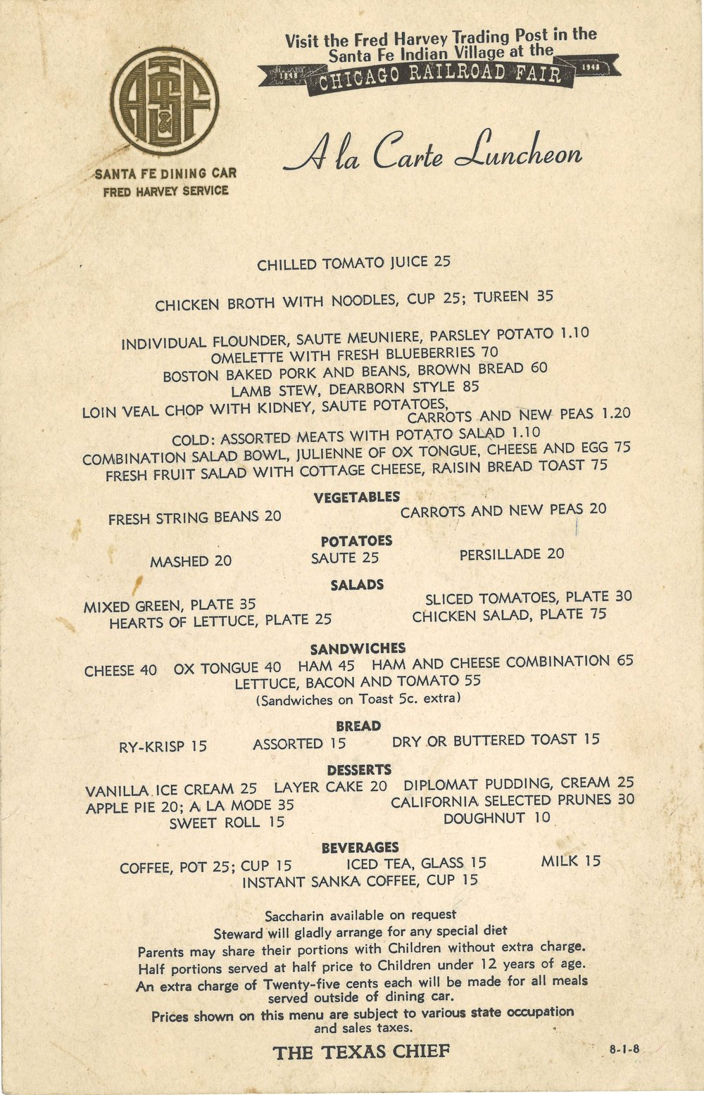 Santa Fe Chicago Railroad Fair  A La Carte Lunch Menu.jpg
