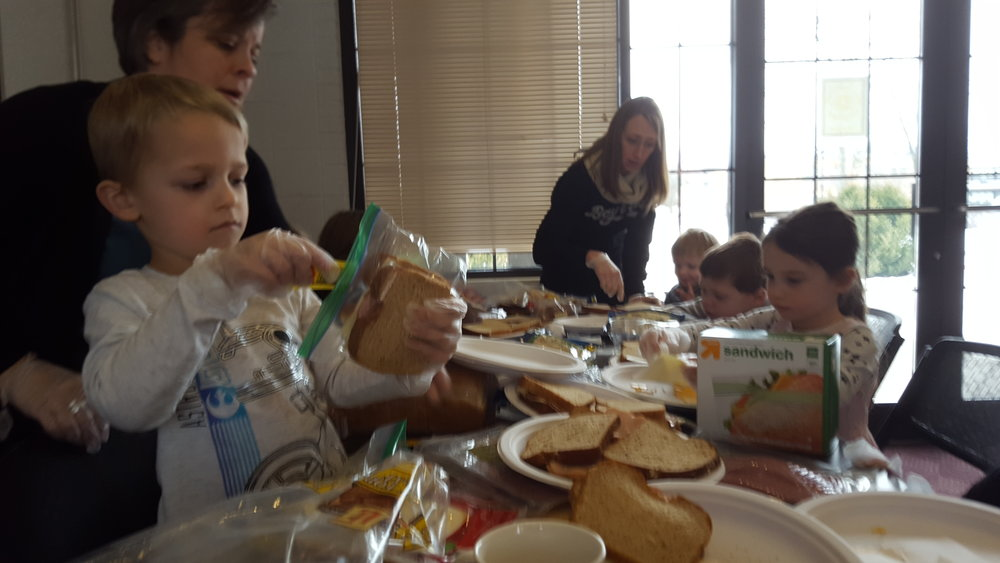 Kids ministry sandwich assembly