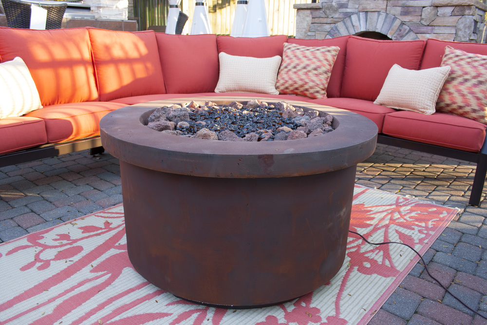"Urban Series Rust Red Fire Pit 42"" Diameter."