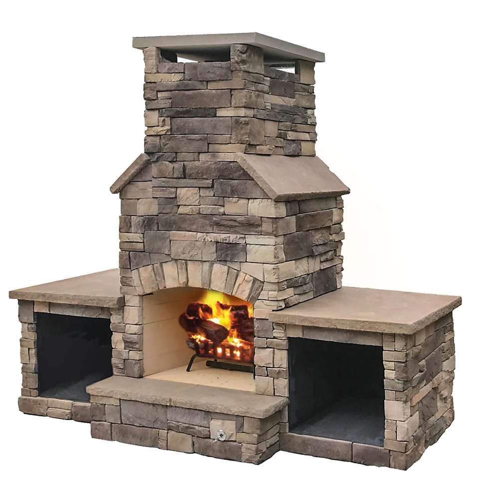 "The Chief - A compact wood burning outdoor fireplace with a 30"" fire box that can fit into almost any design. Solidly-built using a FireRock™masonry core, high temperature fire brick lining and cultured stone veneer. Gas log starters or gas log sets can be added as an upgrade"