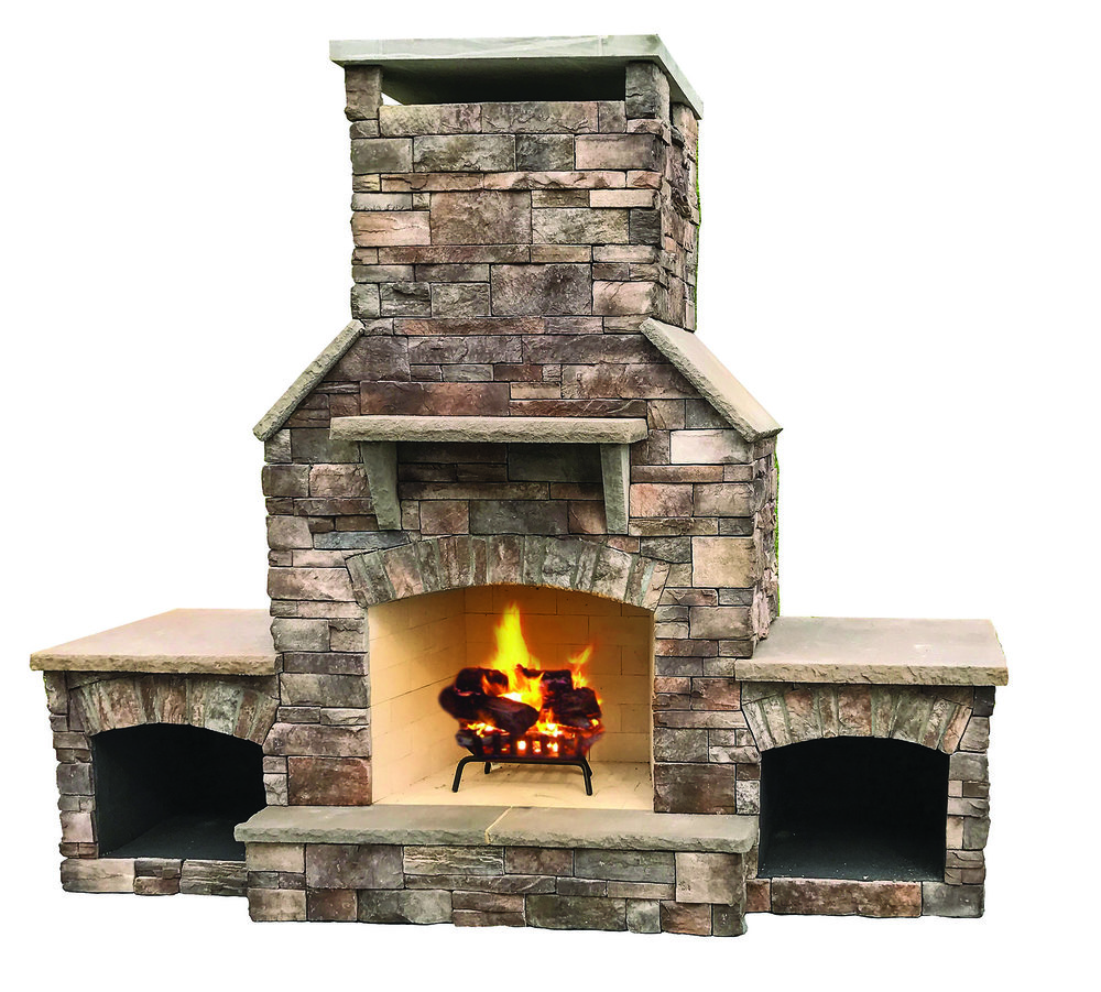 "The Half Dome - Our largest wood burning outdoor fireplace with a 36"" fire box and flowing proportional lines. Solidly-built using a FireRock™ masonry core, high temperature fire brick lining and cultured stone veneer. Gas log starters or gas log sets can be added as an upgrade"
