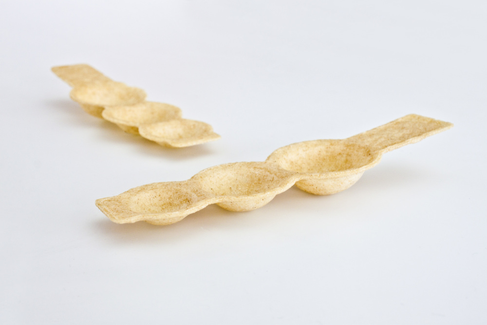 Dual view of 3-bite spoon made of onion