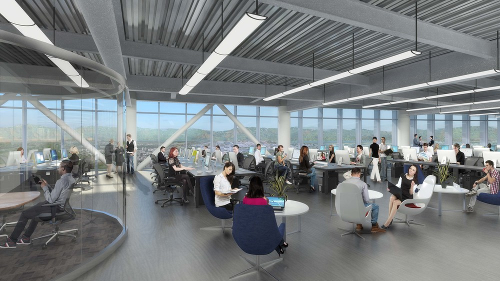 Open ceiling buildout with more than 13' clear height, ideal for creative space plans. Floor-to-ceiling glass facade provides abundant natural light.
