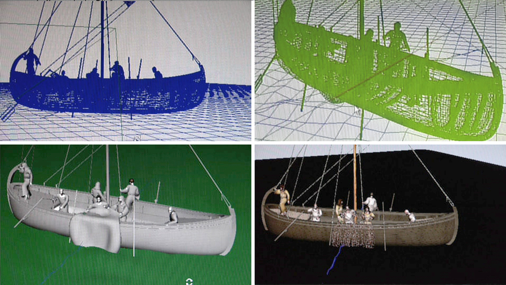 Computer screen renders of the Sea of Galilee boat at Studio Macbeth.
